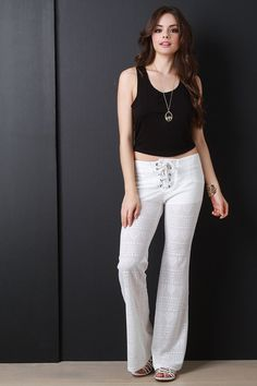 Lace-Up Bell Bottom Pants – Style Lavish