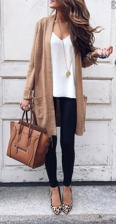 long brown cardigan.