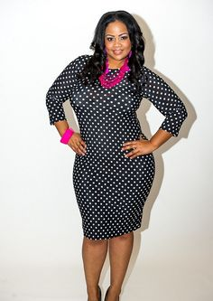 Curvy Fashionista Black Polka Dot Dress Curvy Fashionista Polka Dots