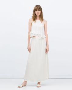 Image 1 of LONG COMBINED GUIPURE LACE SKIRT from Zara