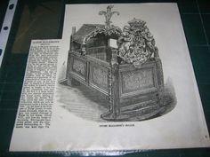 Queen Elizabeth I's Cradle - 1858 engraving from The Illustrated London News.
