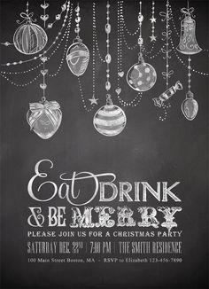Printable Chalkboard Christmas Invitations http://awesome-wedding-ideas-614.blogspot.com - LIKE THE ORNAMENTS