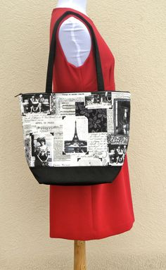 Large Tote Bag Shoulder Bag Beach Bag with pockets by BearStitches, $45.00