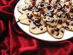 Carpaccio gruszkowe z czekoladą i żurawiną