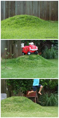 DIY Mini grass mound for the backyard - so easy, cheap and simple! DIY Mini grass mound for the back Natural Playground, Backyard Playground, Backyard For Kids, Backyard Patio, Playground Ideas, Yard Landscaping, Landscaping Ideas, Backyard Ideas, Kids Outdoor Spaces