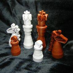 dark chess | Quilled paper chess set Metallic dark bronze and by SumireDesign, $65 ...