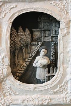 Clay frame and interior image -- lesson for creating narrative art and creating/working with sprigs and molds