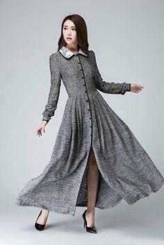 Gray dress linen dress long sleeves dress fall dress shirt