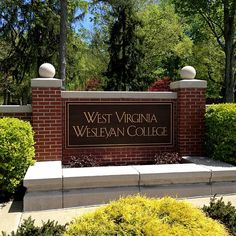 The West Virginia Wesleyan College signs welcomes everyone to the corner of campus. Photo provided by Justin Frye