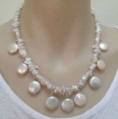 Pearl Necklace, White Freshwater Coin & Keshi Cornflake Pearls, Unique Statement Bib Style Necklace Sterling Silver Findings, FREE GIFT