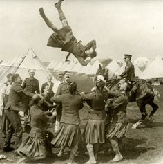 WW1, Scottish troops having some fun away from the trenches.