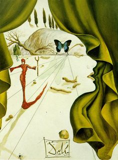 Salvador Dali Butterly Flower | Portrait of Katharina Cornell