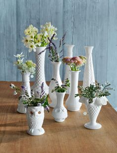 In the 1950s and 1960s, milk glass vessels were florists' go-to.