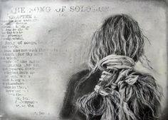 Song of Solomon - limited edition fine art  print from Original Drawing on wood. IngridArtStudio