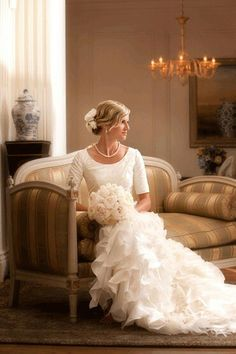 Modest Wedding Dress- Love the Photography and the dress... Just needed higher neck line and longer sleeves!