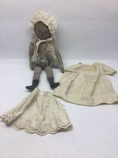 """cloth prairie bed doll pattern country primitive 27/"""" HP detailed faces"""
