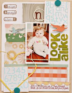 via studio calico blog...love the loose grid & colors used on this page! plus all those patterned papers!