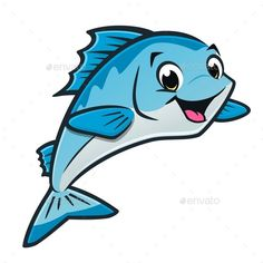 Vector illustration of a cute happy blue fish for design element