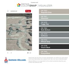 I found these colors with ColorSnap® Visualizer for iPhone by Sherwin-Williams: Requisite Gray (SW 7023), Silvermist (SW 7621), Foggy Day (SW 6235), Rock Bottom (SW 7062), Software (SW 7074), African Gray (SW 9162), Tricorn Black (SW 6258), Pussywillow (SW 7643).