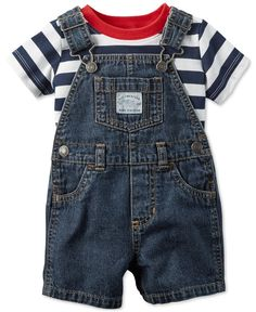 Carter's presents a classic warm-weather look for baby boy that's absolutely for picnics and backyard barbecues--a 2-piece stripe-print T-shirt and denim shortall set, made from gentle cotton. | Cotto