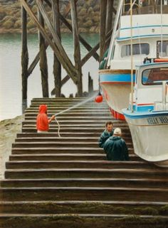 Dry Dock 12x9, painting by artist George Lockwood