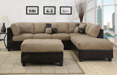 Spacious Black Microfiber Sectional Sofa Set