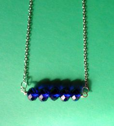 Sapphire Blue Faceted Crystal Pendant by VintageIrishDresser