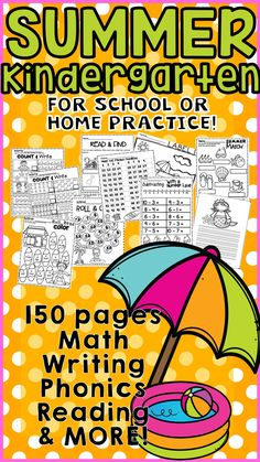 Kindergarten Summer Skills Review For Math Phonics Literacy Practice Pages Are In This Worksheet