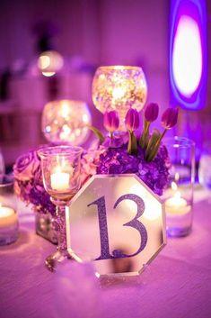 photo: Janet Howard Studio; wedding centerpiece idea, love the table number idea;
