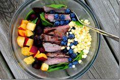 Steak und Früchte