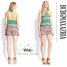 "🌺HP 4/19🌺PRECIOUS CASLI HALTER JUMPSUIT This soft, lightweight jumpsuit is bursting into bloom with a delicate floral print for a casual, yet flirty vibe. Rayon, about 30"" from shoulder to hem. Made in USA🇺🇸 BCBGMaxAzria Other"