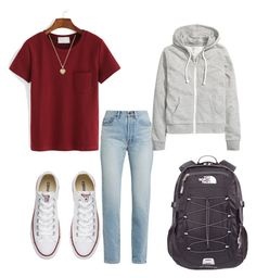 """casual"" by kingrabia on Polyvore featuring WithChic, Yves Saint Laurent, Converse, The North Face, Michael Kors and H&M"