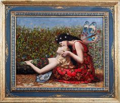 The Kiss, oil on wood panel in hand painted frame, SOLD