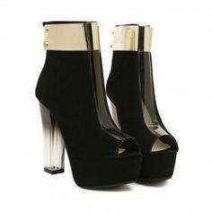 Stylish Peep Toe and Metal Design Women's Short Boots Boots For Short Women, Short Boots, Latest Ladies Shoes, Glass Heels, Peep Toe Shoes, Women's Shoes, Sammy Dress, Beautiful Shoes, Fashion Boots