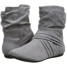 Report Ember (Grey Synthetic) Women's Pull-on Boots ($22) ❤ liked on Polyvore featuring shoes, boots, ankle boots, grey, slip on boots, short grey boots, gray ankle boots, bootie boots and pull on ankle boots