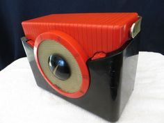 Vintage 50s Westinghouse Atómico Rojo y ébano Retro Antiguo Viejo radio mediados de siglo