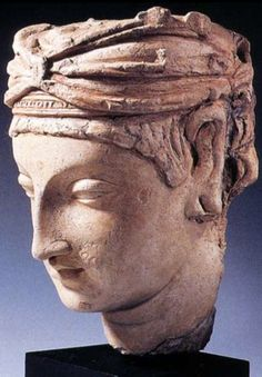2 A Male Head, Gandhara, 4th-5th centuries C.E., stucco, painted, H: 26 cm. MIK collection I. 4871