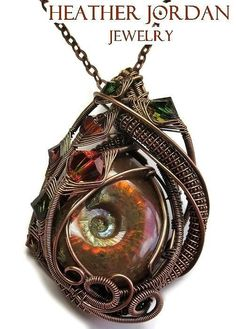 Heather Jordan Jewelry - Opalized Ammonite Fossil Wire-wrapped Pendant In Antiqued Copper With Swarovski Crystal - Fapc11 by Heather Jordan