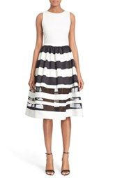 Alice + Olivia 'Larue' Illusion Stripe Fit & Flare Dress
