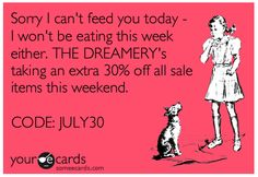 #saledreamery - Take an EXTRA 30% off ALL SALE items with the code JULY30 at The Dreamery. That means up to 85% off sale styles! Who needs food when you can have fabulous?    http://www.the-dreamery.com/Sale/All-Sale-Items/viewall