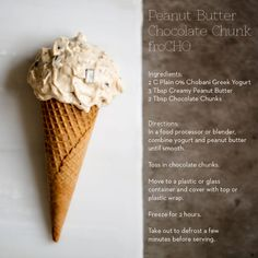 Peanut Butter Chocolate Chunk FroCHO. No ice cream maker necessary!