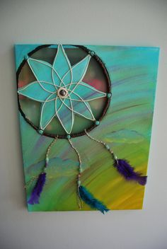 Morning Dreams  Handmade Dreamcatcher on Canvas by aurashana, $222.00