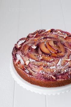 plum upside down almond cake