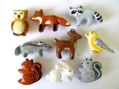 Woodland manopole del cassetto di ceramica animale - volpe, gufo, coniglio…
