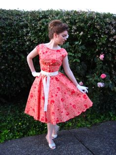 Here is one of my favorite 50s dresses I've sewn.  It was made from a very cute cotton print.  More pictures here:   http://www.edelweisspatterns.com/blog/?p=750