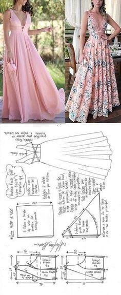 Vestido de festa godê com decote V | DIY - molde, corte e costura - Marlene Mukai