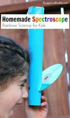 Rainbow Science for Kids: Homemade Spectroscope using a paper towel roll and a C. Rainbow Science for Kids: Homemade Spectroscope using a paper towel roll and a CD. Such a fun way to explore light! Kid Science, Preschool Science, Science Experiments Kids, Science Fair, Teaching Science, Science Ideas, Science Games, Science Classroom, Science Education