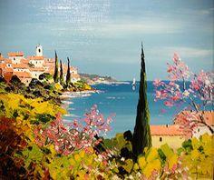 Tuscany Landscape, Landscape Art, Landscape Paintings, Watercolor Paintings, Abstract Format, City Art, Art Techniques, Painting Inspiration, Art Pictures