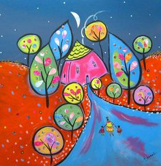 So whimsical and full of bright happy colors. Reminds me of those walks home from school as a child.  By Claire Barone Art - $99.00