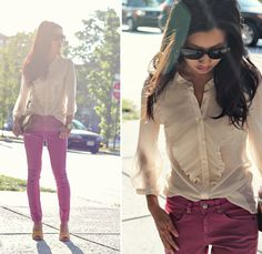 """Blouse: H&M; Clutch: H&M  Watch: Michael Kors Tortoise Jet Set; Pants: ASOS Petite Pink """"Capri"""" Jeans; Shoes: Talbots Suede Chunky Heel Sandals (Swap sandals for boots and add a blazer -- now it's fall.)"""
